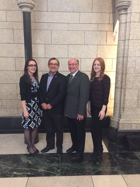 Retired MP Ed Komarnicki with Robert Kitchen and staffers Bailey Dennis and Michelle Newman