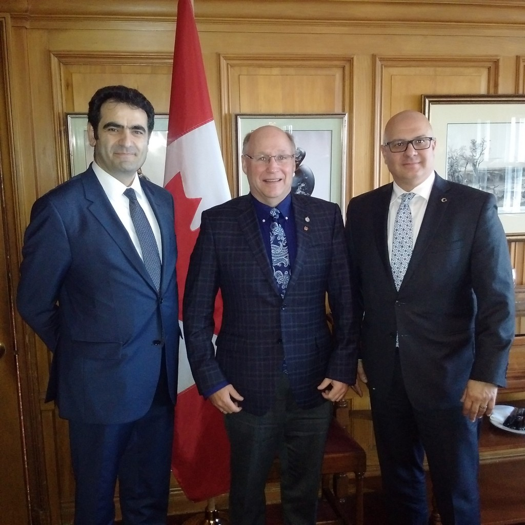 His Excellency ‎Mr. Selcuk Unal - Turkish Ambassador, MP Kitchen, Omer AL-Katib Honorary Consulate General of the Republic of Turkey in Saskatchewan