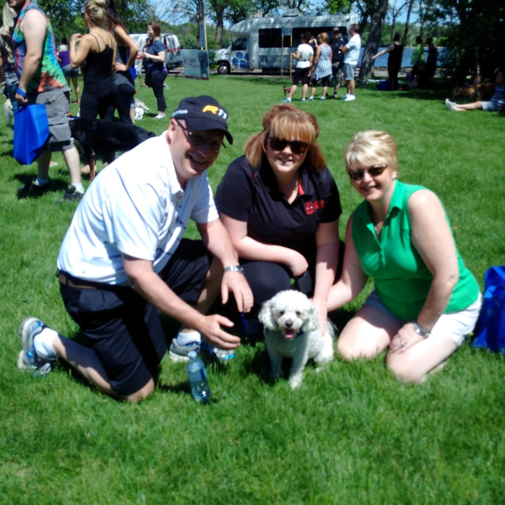 Rob, Kathryn and Donna enjoying the pups!
