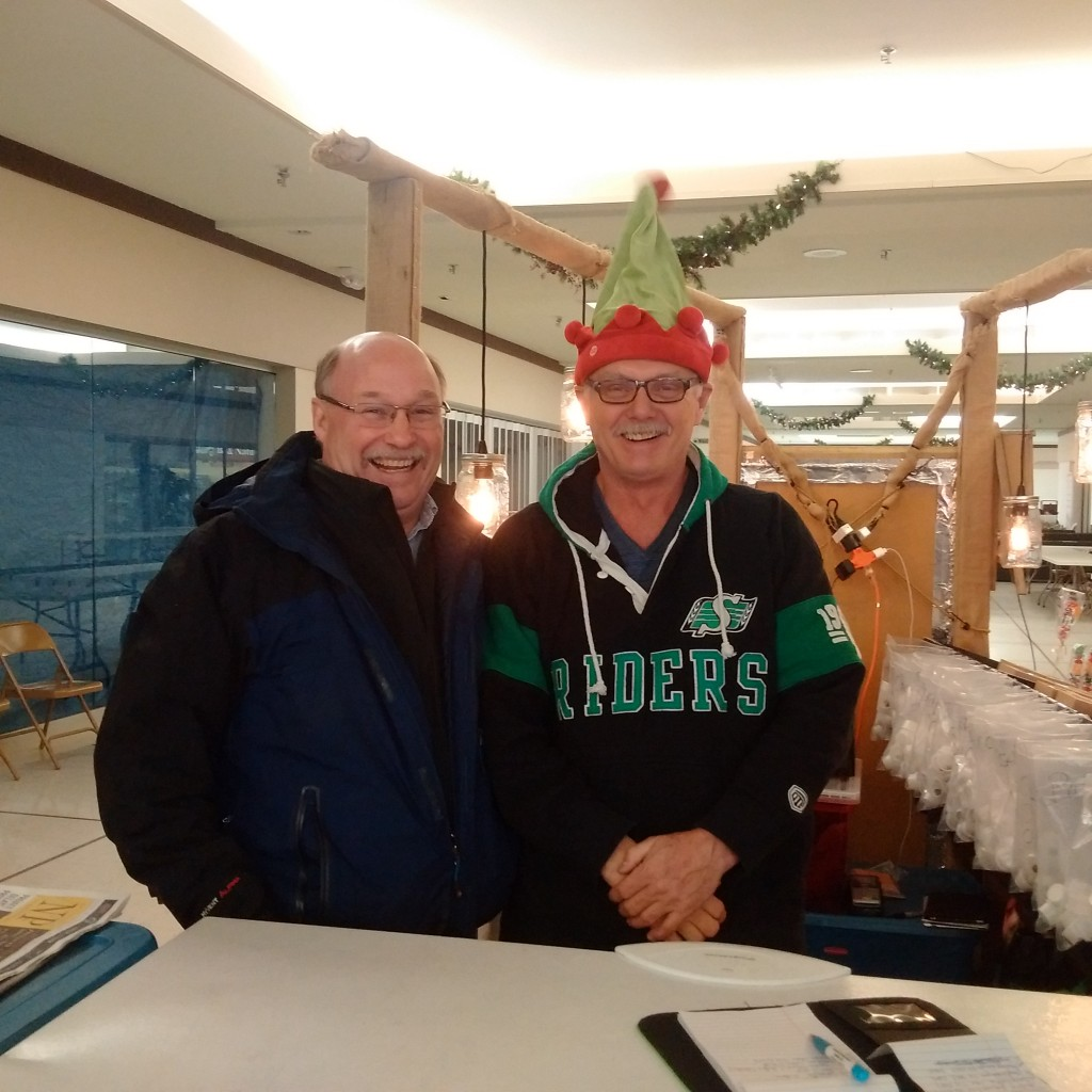 The perogie elf, Rick ‎Williams in the Estevan Shoppers Mall. He and his wife Sharon sell the best Perogies and cabbage rolls around.