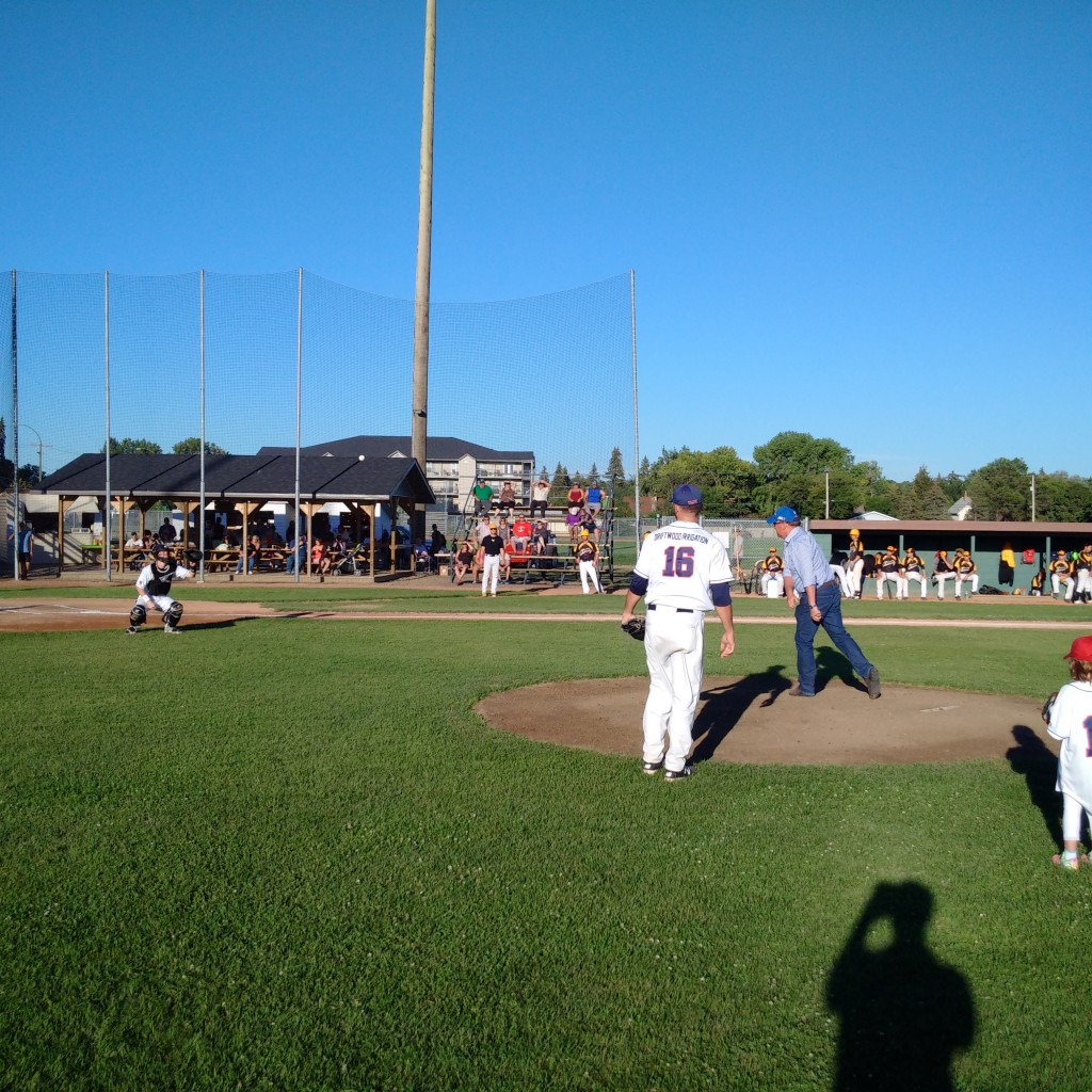 Throwing out first pitch at Weyburn Beavers game vs. Moose Jaw Miller Express